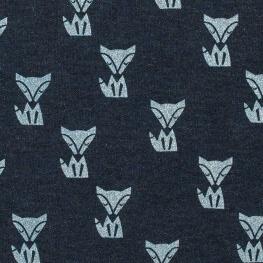 Tissu jersey sweat renard scintillant - Bleu marine