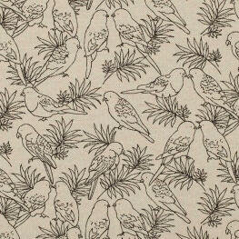 Tissu toile coton oiseaux perruches - Noir