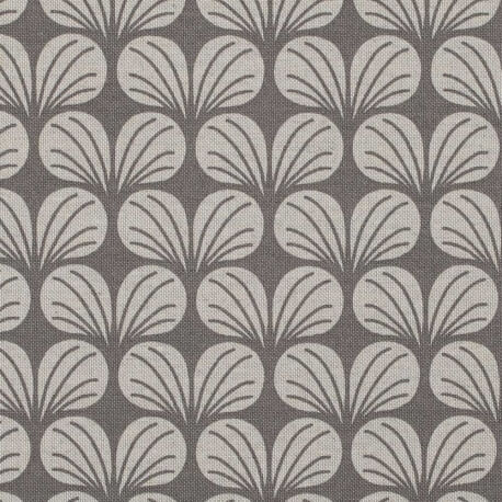 Tissu toile coton flowers - Gris