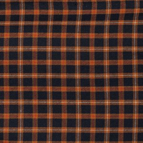 Tissu coton écossais - Bleu marine & caramel