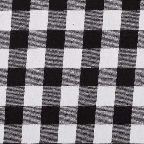 Tissu coton carreaux petit buffalo - Blanc & noir