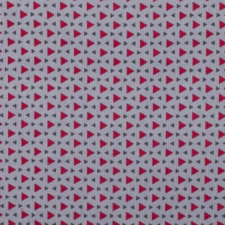 Tissu velours milleraies triangle - Rose & gris