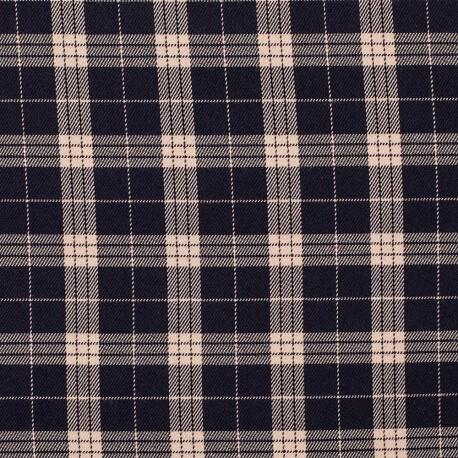 Tissu écossais - Bleu marine & rose clair