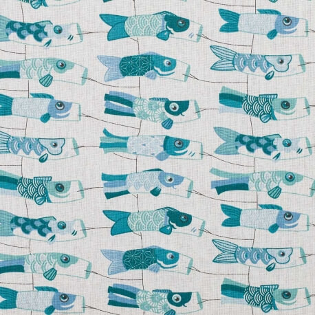 Tissu coton cretonne carpe japonaise - Bleu