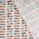 Tissu coton cretonne carpe japonaise - Vert, rouge & orange