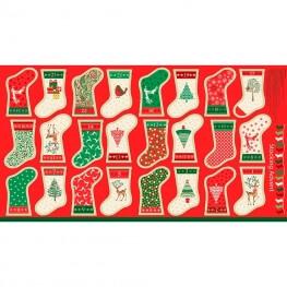 Kit DIY calendrier de l'avent à coudre - Chaussettes de Noël vertes & rouges