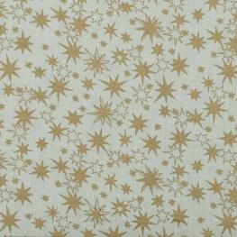 Tissu coton étoiles dorées - Blanc cassé