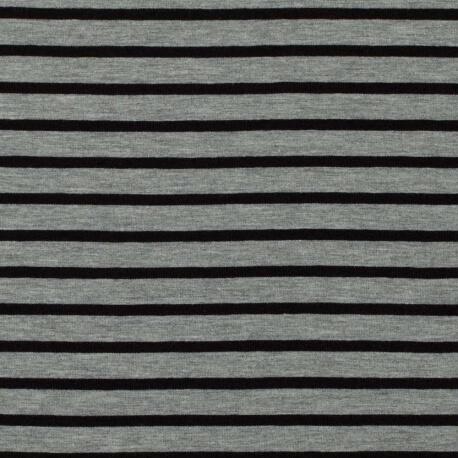 Tissu jersey à rayures - Chiné gris & noir