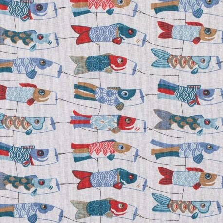 Tissu coton cretonne carpe japonaise - Rouge & bleu