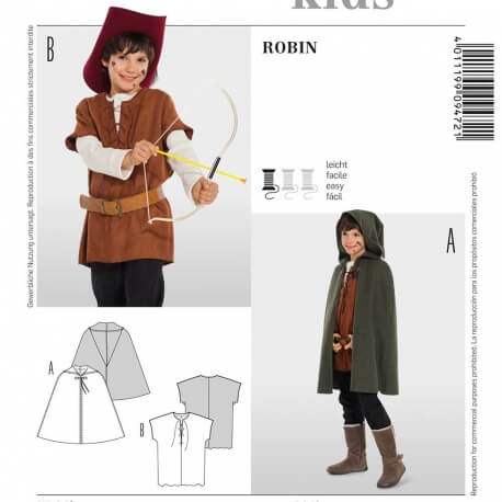 Patron déguisement enfant Robin des bois - Burda 9472