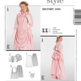 Patron déguisement femme robe historique 1888 - Burda 7880