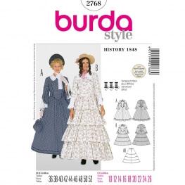 Patron déguisement femme robe historique 1848 - Burda 2768