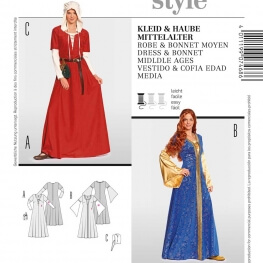 Patron déguisement femme robe & coiffe moyen-âge - Burda 7468