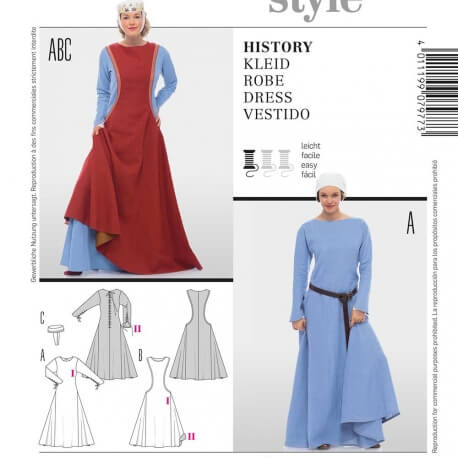 Patron déguisement femme costume historique - Burda 7977