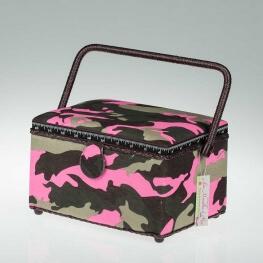 Boite à couture rectangle tissu camouflage marron & rose - Moyenne