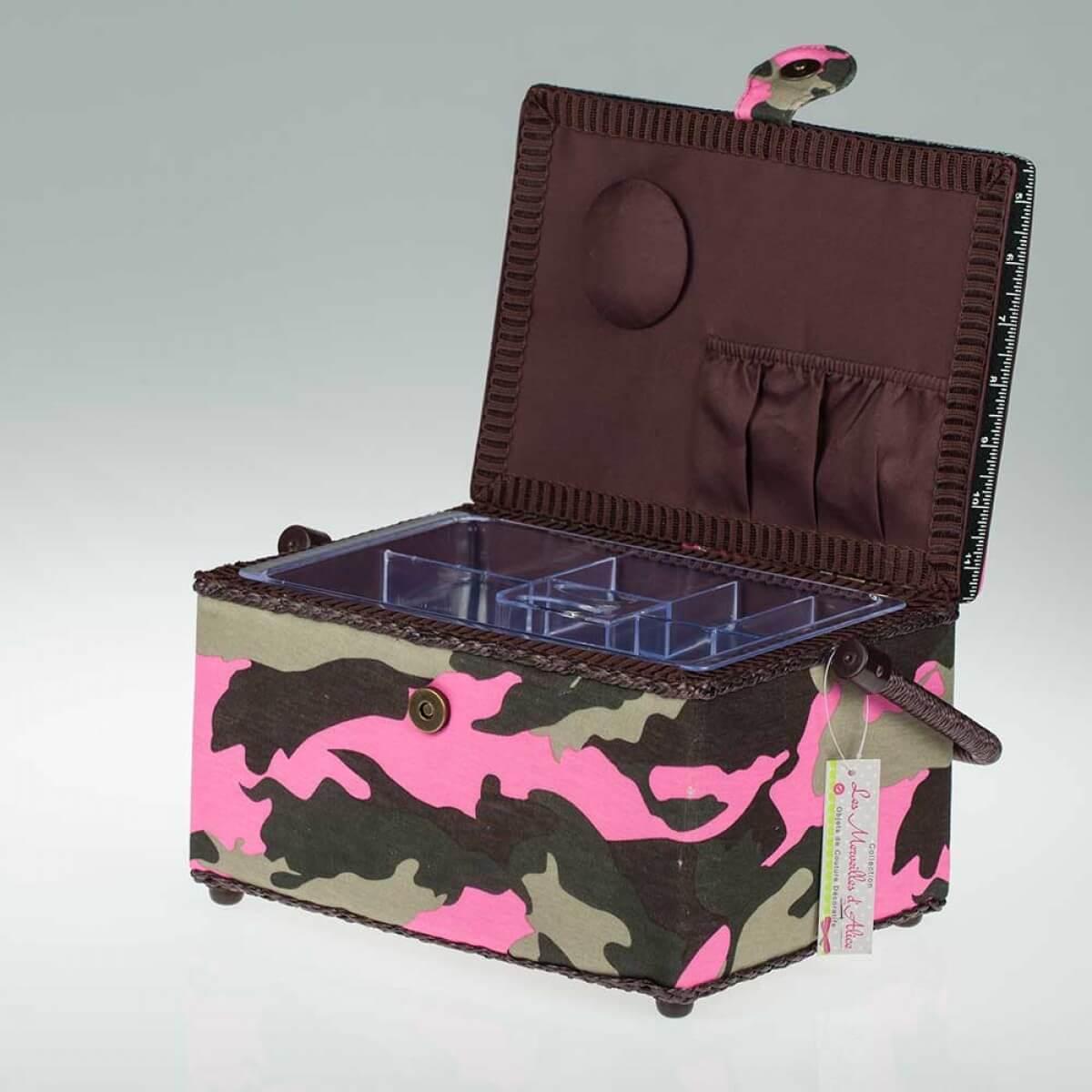 Boite couture rectangle tissu camouflage marron rose for Boite couture tissu