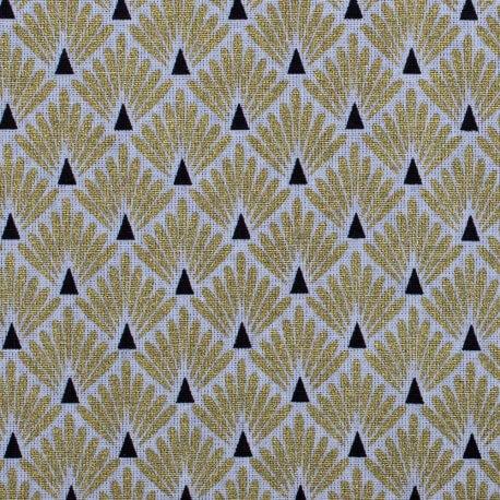 Tissu coton enduit écailles - Doré & noir
