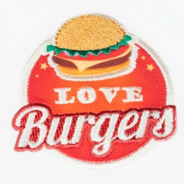 Ecusson love food burgers