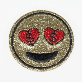 Ecusson glitter smiley dollar