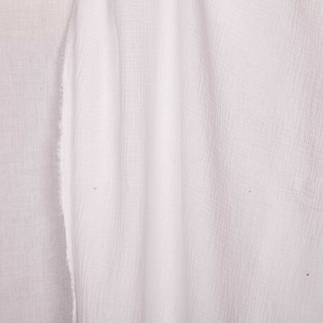 Tissu coton double gaze - Blanc