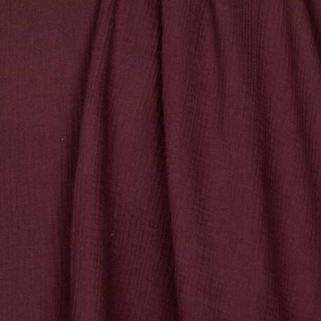 Tissu coton double gaze - Bordeaux