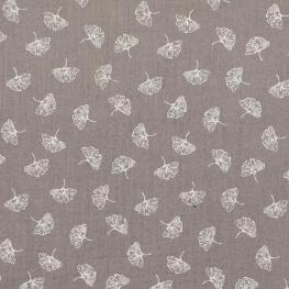 Tissu coton double gaze feuille ginkgo - Gris