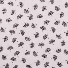 Tissu coton double gaze feuille ginkgo - Noir & blanc