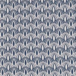 Tissu coton spring graphic - Bleu pétrole