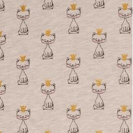 Tissu jersey sweat chat courone doré - Gris chiné clair