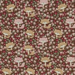 Tissu coton dame renard - Marron & rose