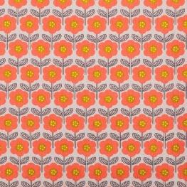 Tissu coton scandy flower - Gris clair