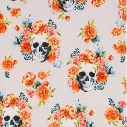 Tissu coton Dia de los Muertos - Gris perle & orange