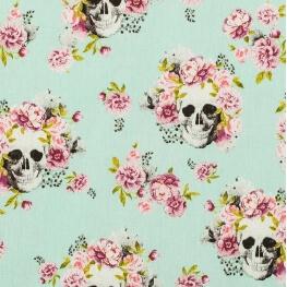 Tissu coton Dia de los Muertos - Bleu ciel & rose