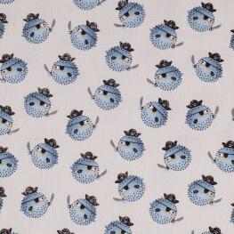 Tissu coton poisson fugu pirate - Bleu