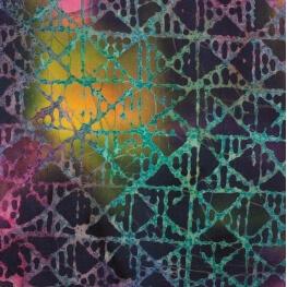 Tissu coton fantaisie batik - Violet, rose & jaune