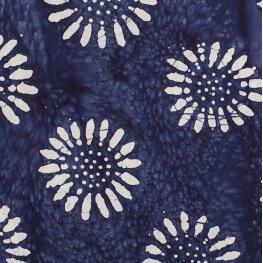 Tissu coton fantaisie batik - Bleu fleuri