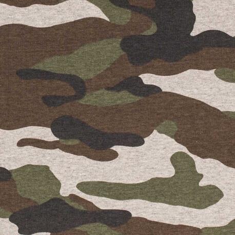 Tissu jersey camouflage - Vert