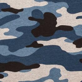 Tissu jersey camouflage - Bleu