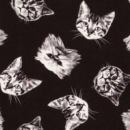 Tissu viscose chats - Noir & blanc