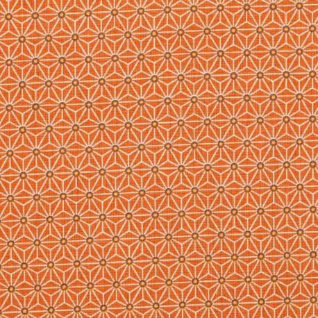 Tissu coton cretonne étoiles asanoha - Orange foncé