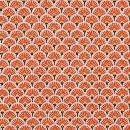 Tissu coton cretonne éventails - Orange