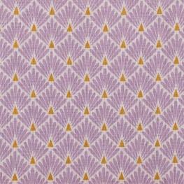 Tissu coton cretonne écailles dorées - Violet lavande