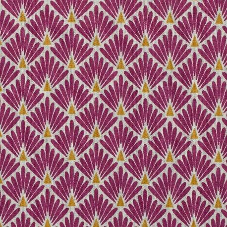 Tissu coton cretonne écailles dorées - Violet prune
