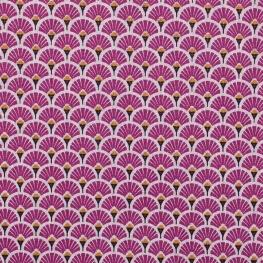 Tissu coton cretonne éventails dorées - Violet prune