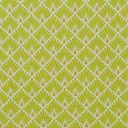 Tissu coton cretonne écailles dorées - Vert citronnelle