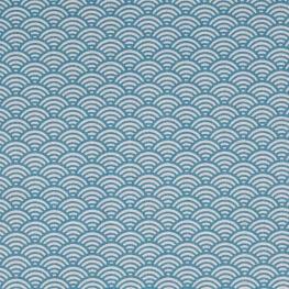 Tissu coton cretonne vague japonaise - Bleu canard