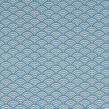 tissu coton cretonne vague japonaise bleu canard mercerie car fil. Black Bedroom Furniture Sets. Home Design Ideas