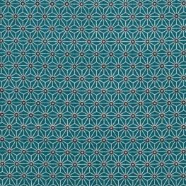 Tissu coton cretonne étoiles asanoha - Bleu canard & bleu