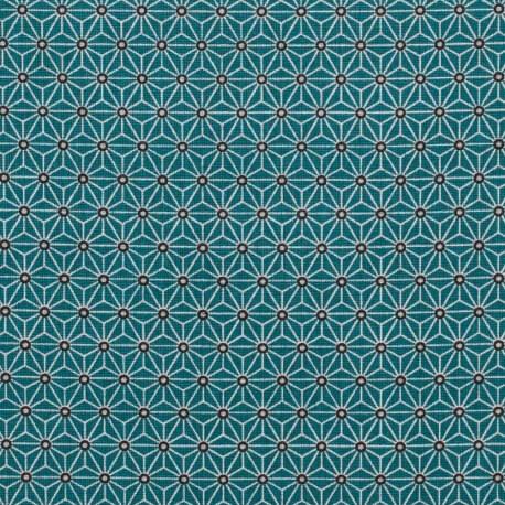 tissu coton cretonne toiles asanoha bleu canard bleu mercerie car fil. Black Bedroom Furniture Sets. Home Design Ideas