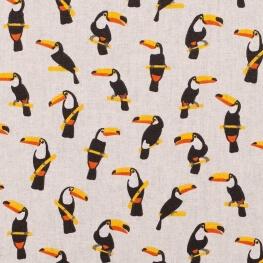 Tissu coton cretonne étoiles toucans - Ivoire